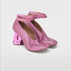 maison margiela tabi crushed heel glitter pumps